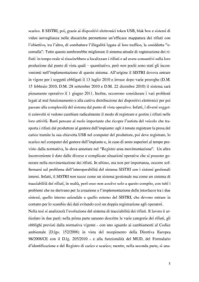 Anteprima della tesi: L'implementazione del SISTRI nella tracciabilità dei rifiuti: vantaggi e criticità, Pagina 3