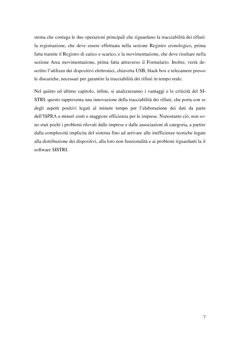 Anteprima della tesi: L'implementazione del SISTRI nella tracciabilità dei rifiuti: vantaggi e criticità, Pagina 5