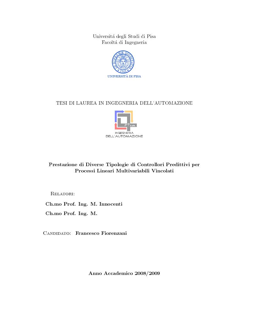 Anteprima della tesi: Prestazione di diverse tipologie di controllori predittivi per processi lineari multivariabili vincolati, Pagina 1