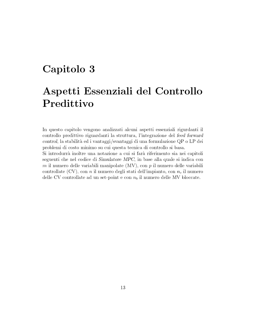 Anteprima della tesi: Prestazione di diverse tipologie di controllori predittivi per processi lineari multivariabili vincolati, Pagina 13