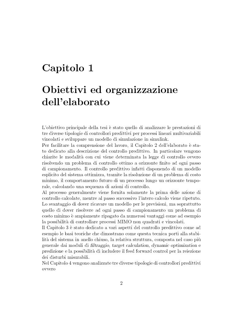 Anteprima della tesi: Prestazione di diverse tipologie di controllori predittivi per processi lineari multivariabili vincolati, Pagina 2