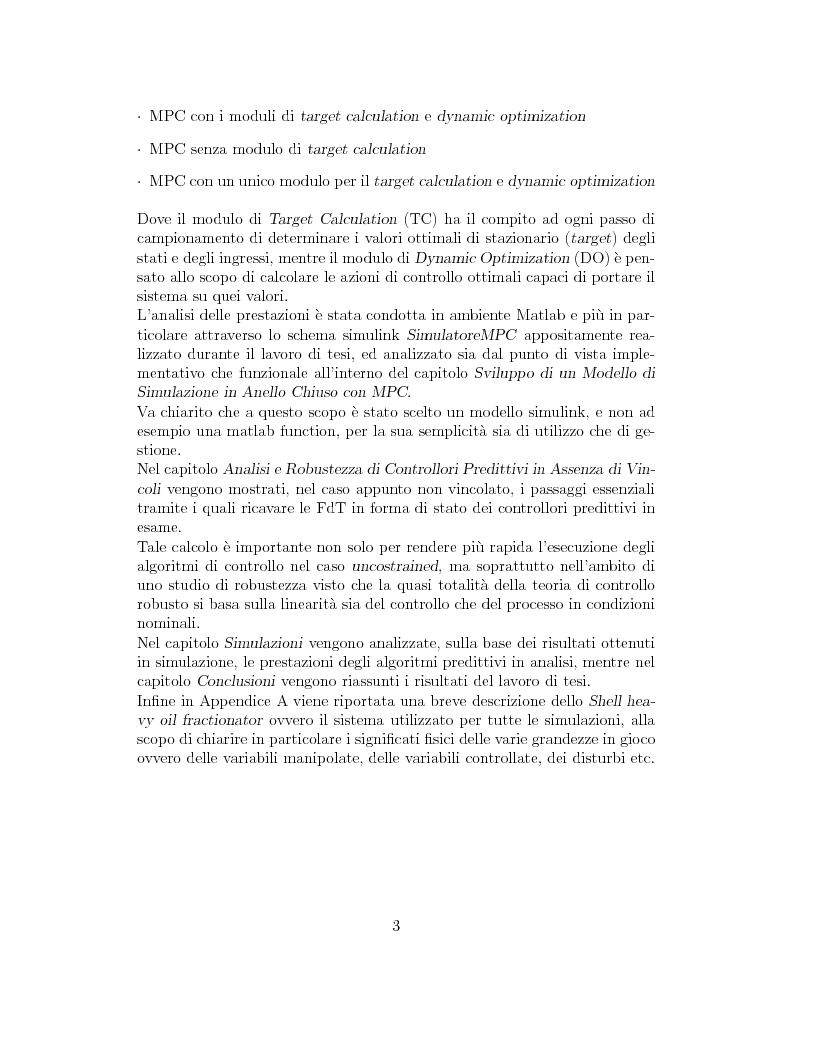 Anteprima della tesi: Prestazione di diverse tipologie di controllori predittivi per processi lineari multivariabili vincolati, Pagina 3