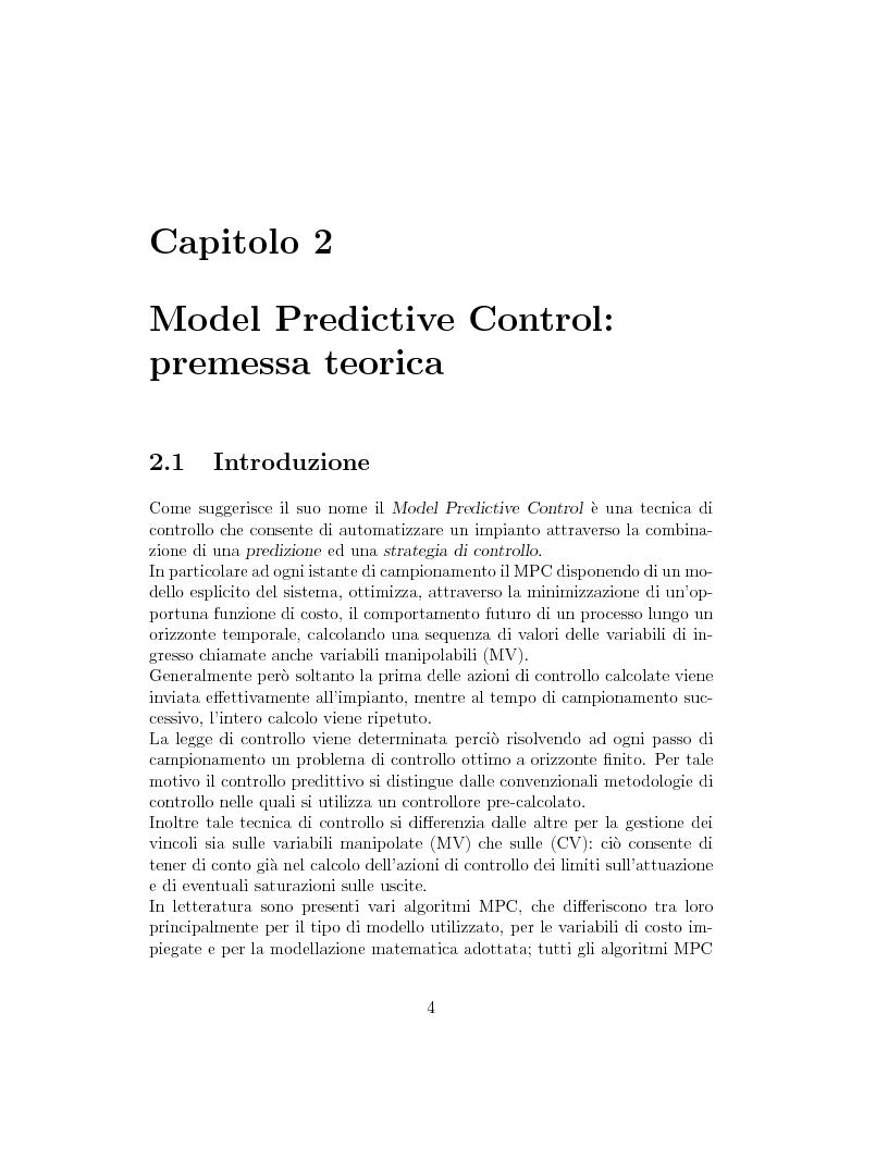 Anteprima della tesi: Prestazione di diverse tipologie di controllori predittivi per processi lineari multivariabili vincolati, Pagina 4
