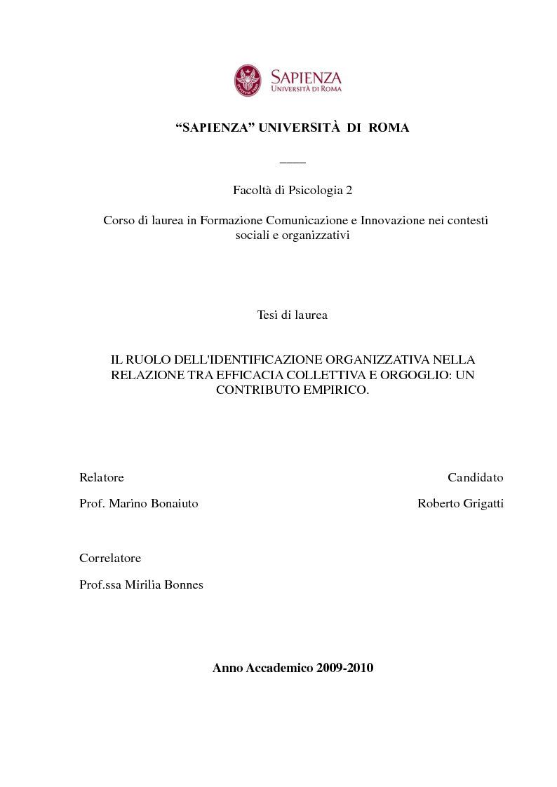 Anteprima della tesi: Il ruolo dell'identificazione organizzativa nella relazione tra efficacia collettiva e orgoglio: un contributo empirico., Pagina 1