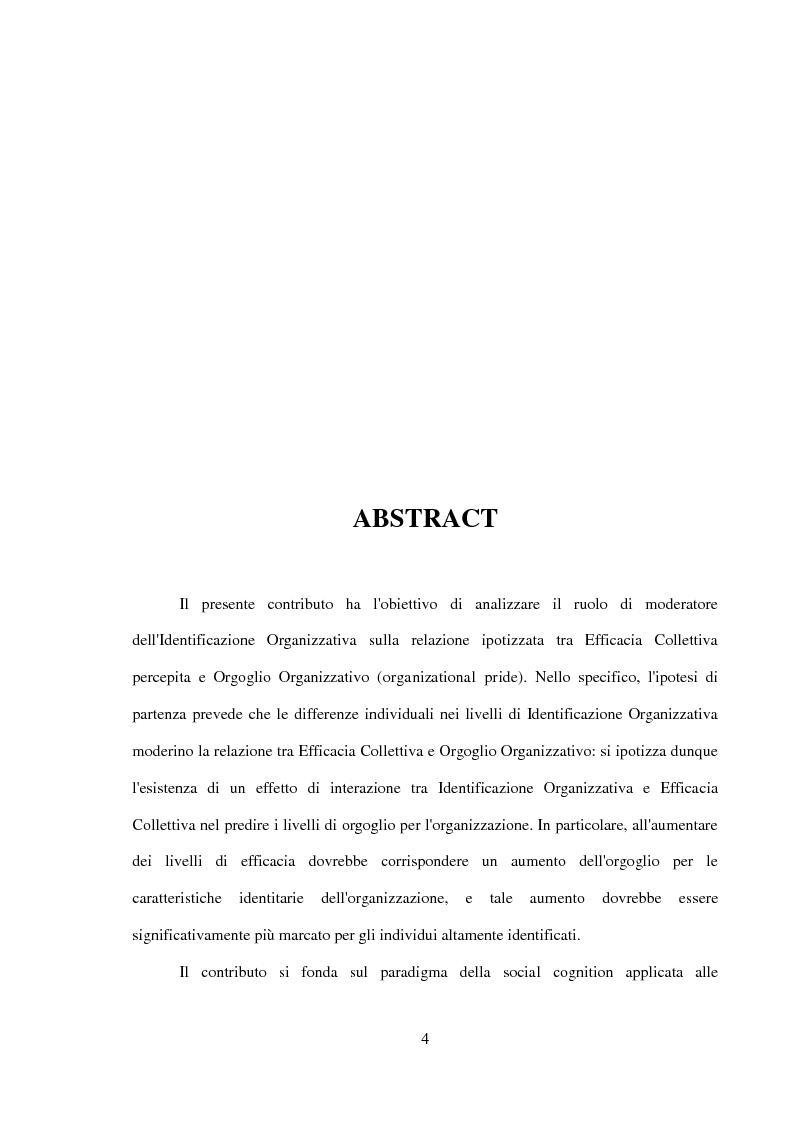 Anteprima della tesi: Il ruolo dell'identificazione organizzativa nella relazione tra efficacia collettiva e orgoglio: un contributo empirico., Pagina 2