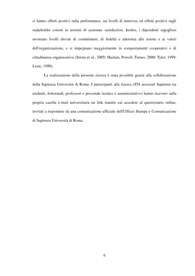 Anteprima della tesi: Il ruolo dell'identificazione organizzativa nella relazione tra efficacia collettiva e orgoglio: un contributo empirico., Pagina 4