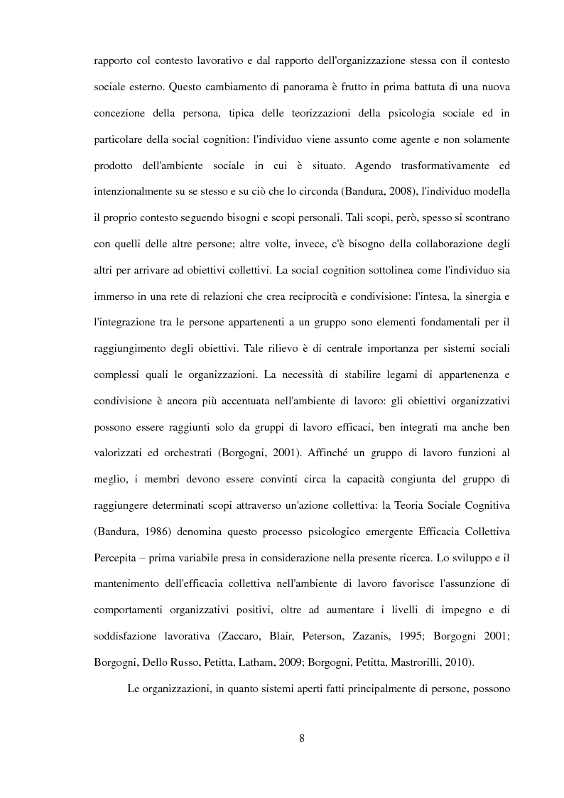 Anteprima della tesi: Il ruolo dell'identificazione organizzativa nella relazione tra efficacia collettiva e orgoglio: un contributo empirico., Pagina 6