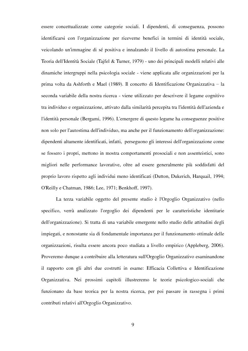 Anteprima della tesi: Il ruolo dell'identificazione organizzativa nella relazione tra efficacia collettiva e orgoglio: un contributo empirico., Pagina 7