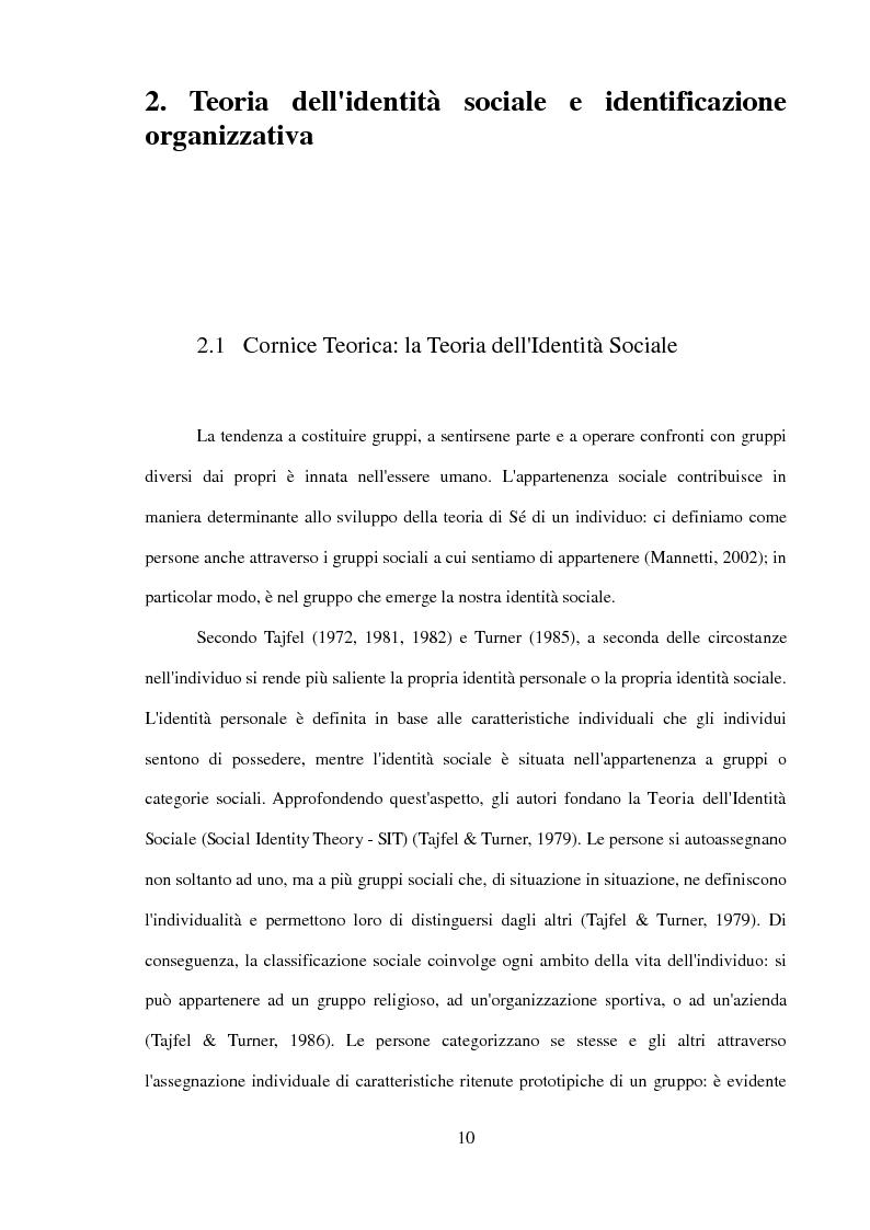 Anteprima della tesi: Il ruolo dell'identificazione organizzativa nella relazione tra efficacia collettiva e orgoglio: un contributo empirico., Pagina 8