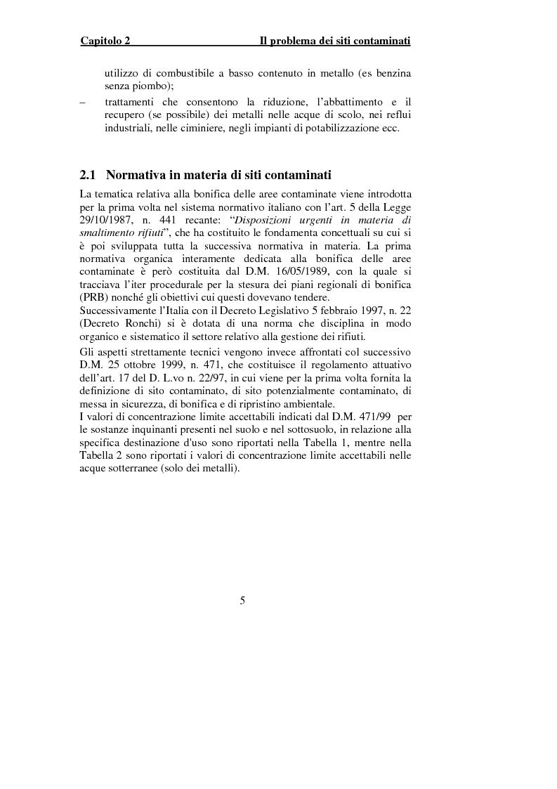 Anteprima della tesi: Indagine sperimentale per il trattamento delle acque di falda contaminate dalle presenza di piombo, Pagina 3