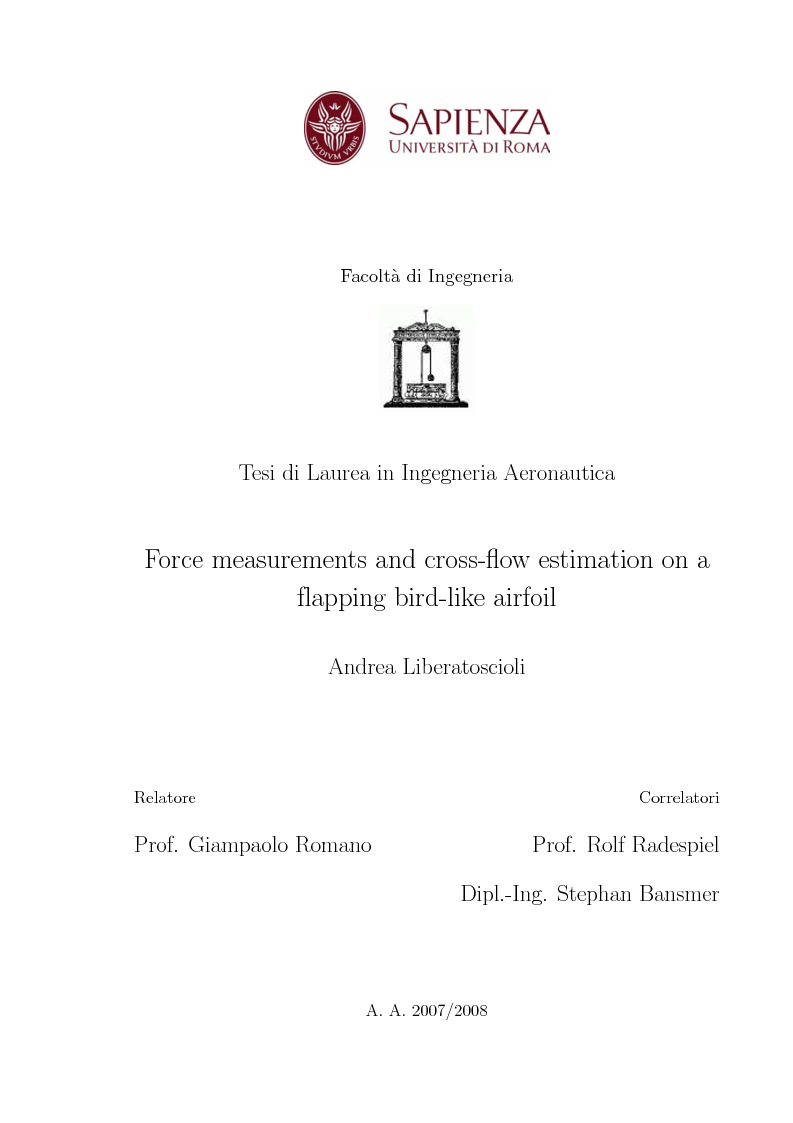Anteprima della tesi: Force measurements and cross-flow estimation on a flapping bird-like airfoil, Pagina 1