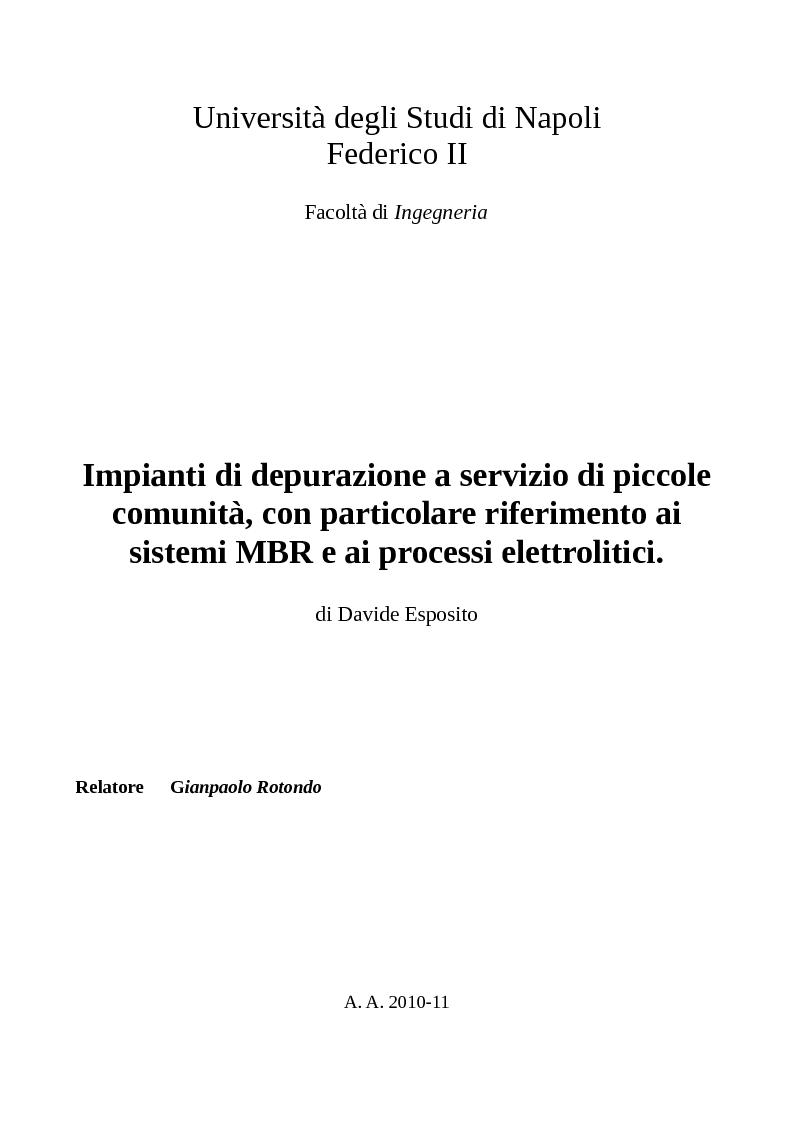 Anteprima della tesi: Impianti di depurazione a servizio di piccole comunità, con particolare riferimento ai sistemi MBR e ai processi elettrolitici., Pagina 1