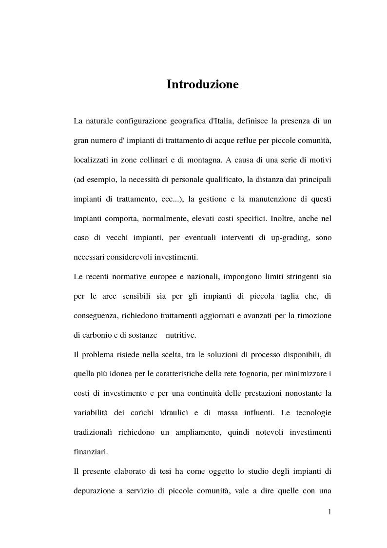 Anteprima della tesi: Impianti di depurazione a servizio di piccole comunità, con particolare riferimento ai sistemi MBR e ai processi elettrolitici., Pagina 2
