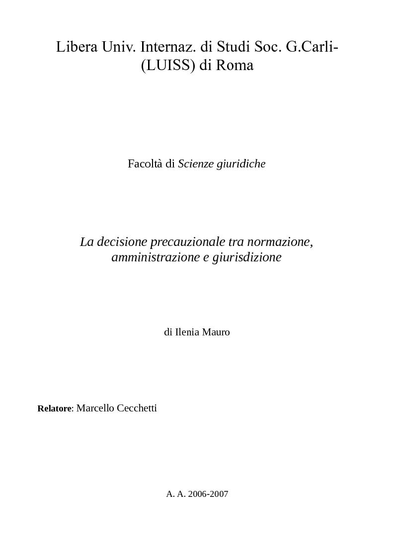 Anteprima della tesi: La decisione precauzionale tra normazione, amministrazione e giurisdizione, Pagina 1