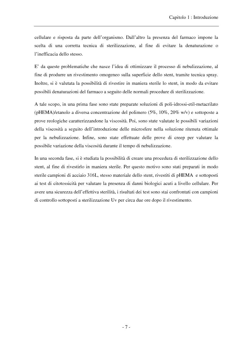 Anteprima della tesi: Caratterizzazione di una soluzione polimerica a base di pHEMA per il rivestimento sterile di stent coronarici, Pagina 5