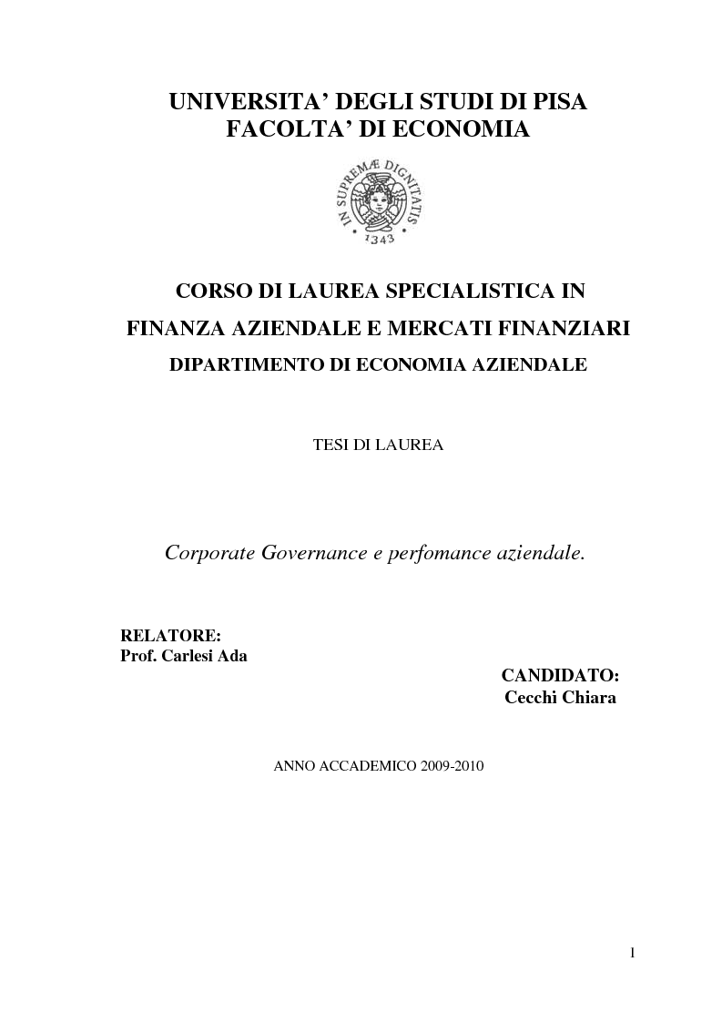 Anteprima della tesi: Corporate Governance e perfomance aziendale, Pagina 1