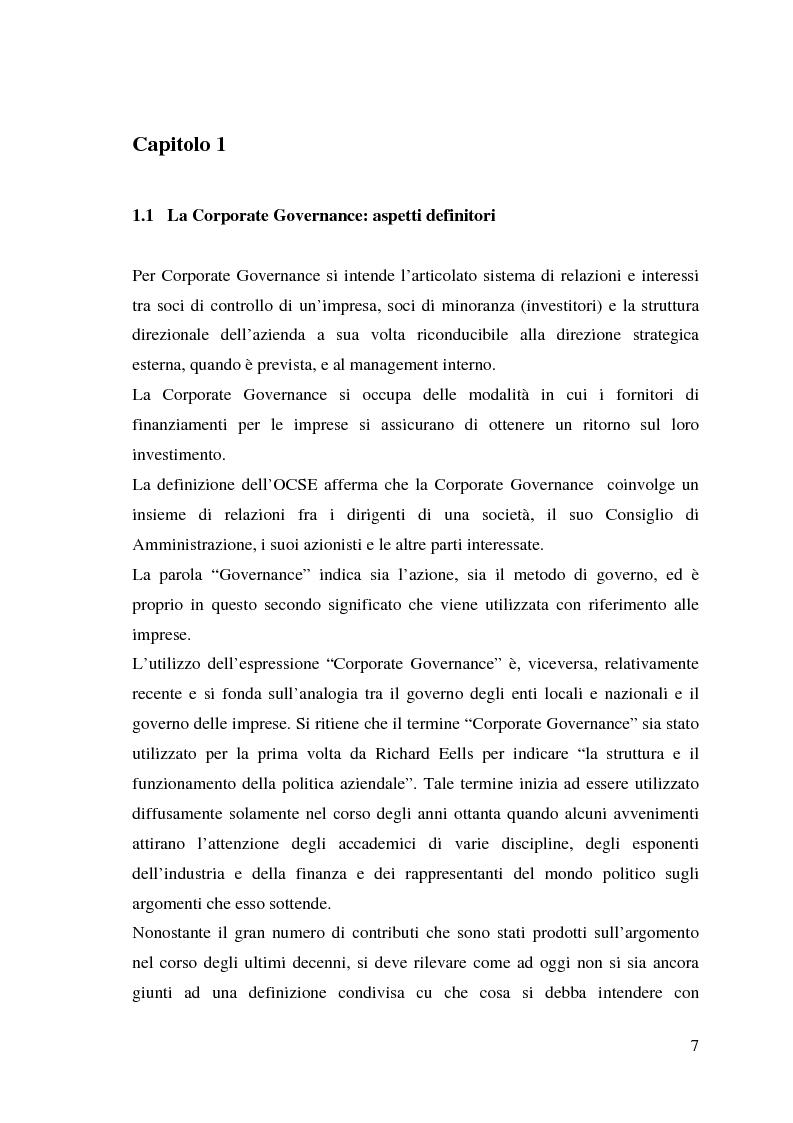 Anteprima della tesi: Corporate Governance e perfomance aziendale, Pagina 4