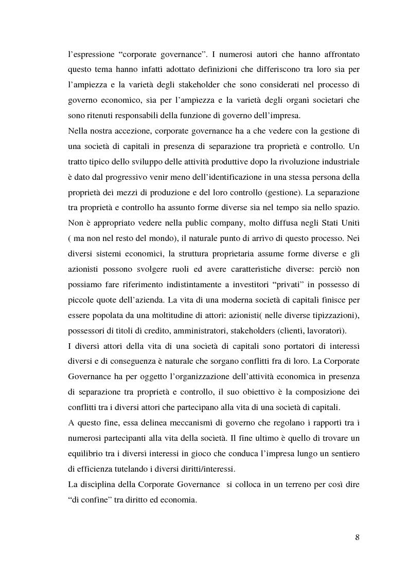 Anteprima della tesi: Corporate Governance e perfomance aziendale, Pagina 5