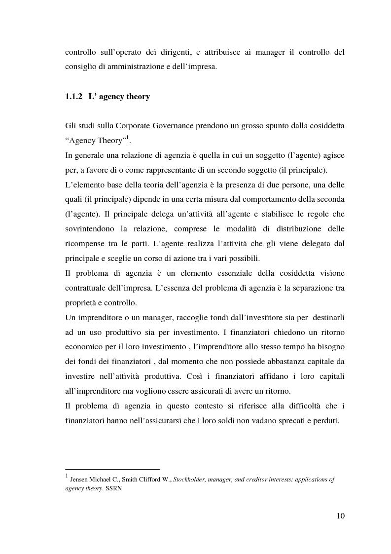 Anteprima della tesi: Corporate Governance e perfomance aziendale, Pagina 7