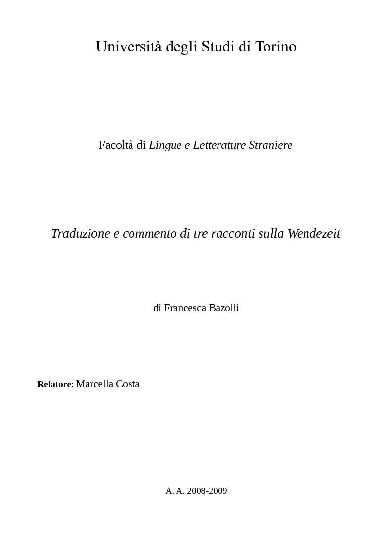 Anteprima della tesi: Traduzione e commento di tre racconti sulla Wendezeit, Pagina 1