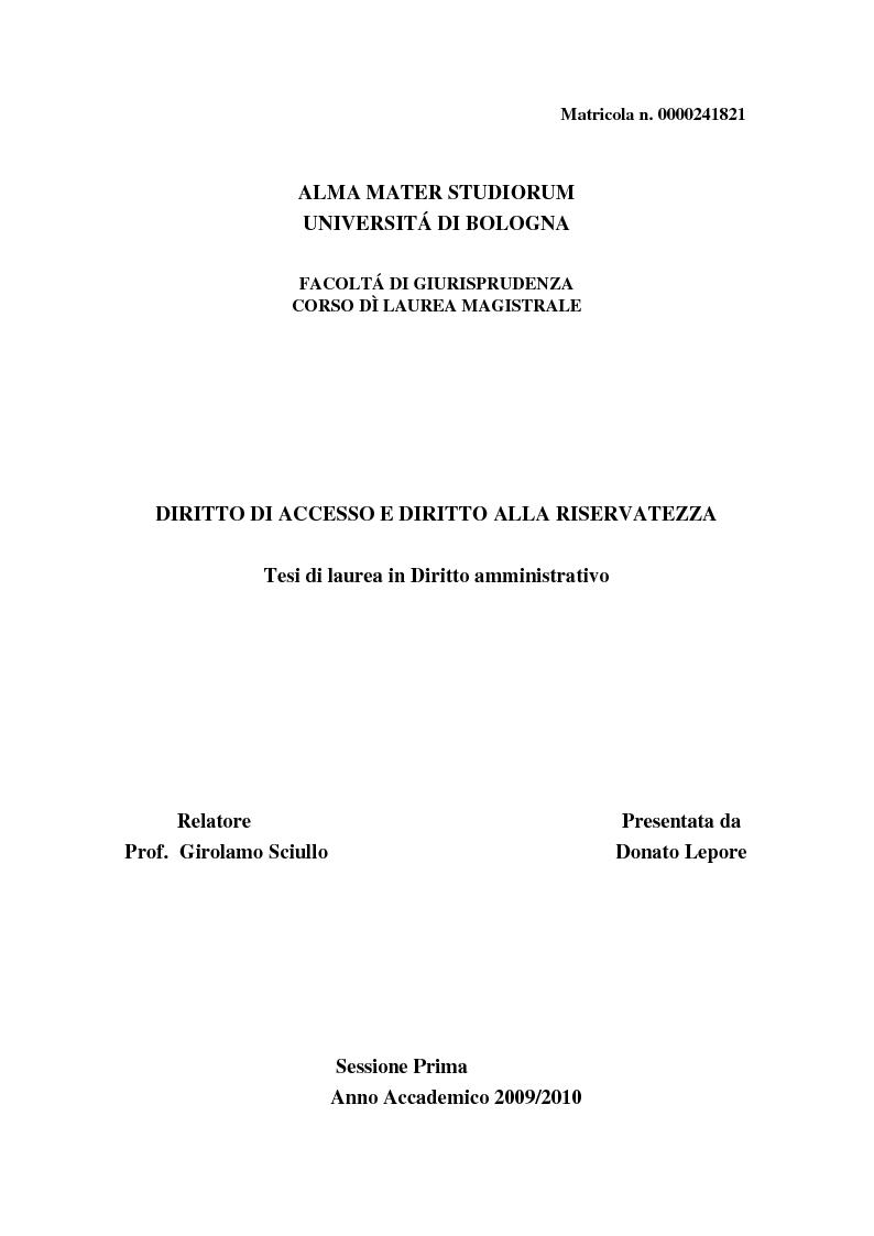 Anteprima della tesi: Diritto di accesso e diritto alla riservatezza, Pagina 1