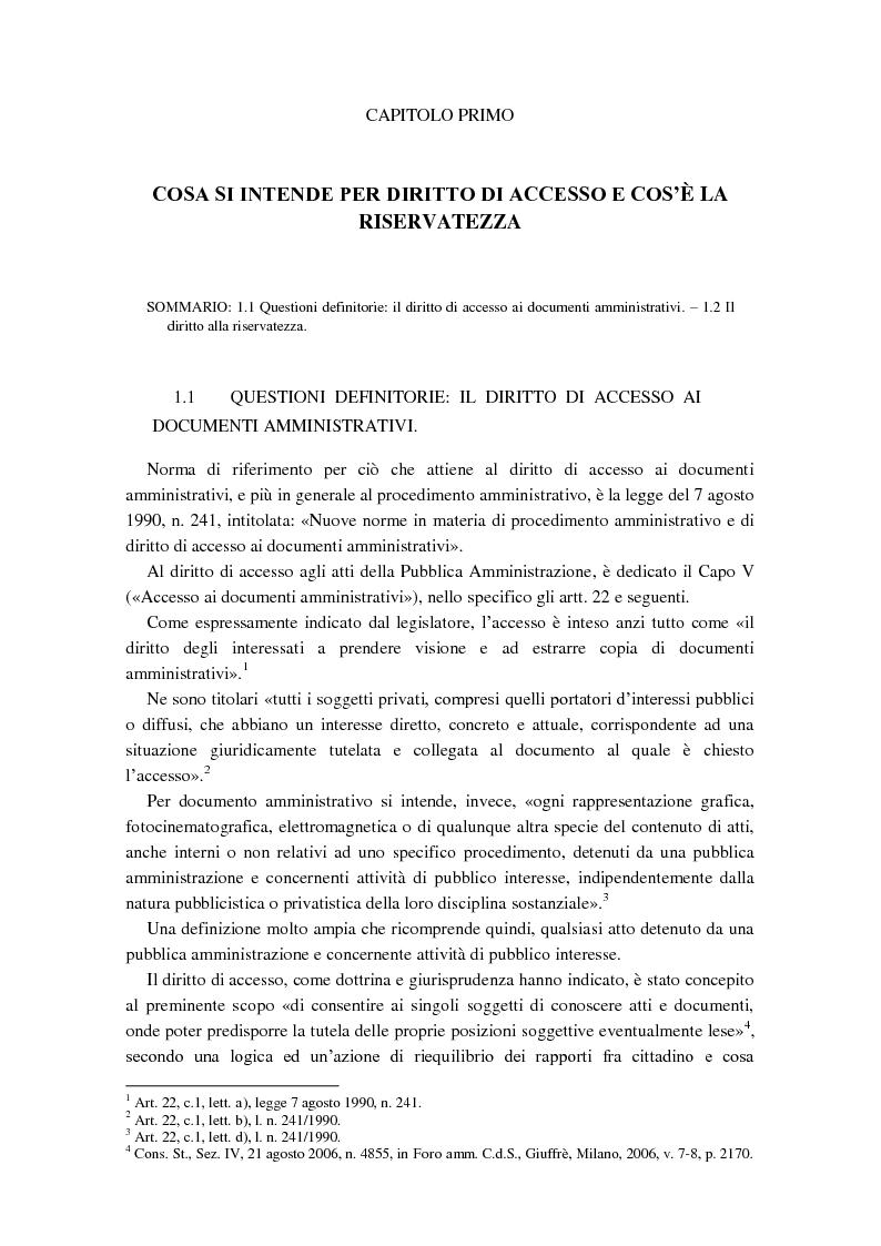 Anteprima della tesi: Diritto di accesso e diritto alla riservatezza, Pagina 2