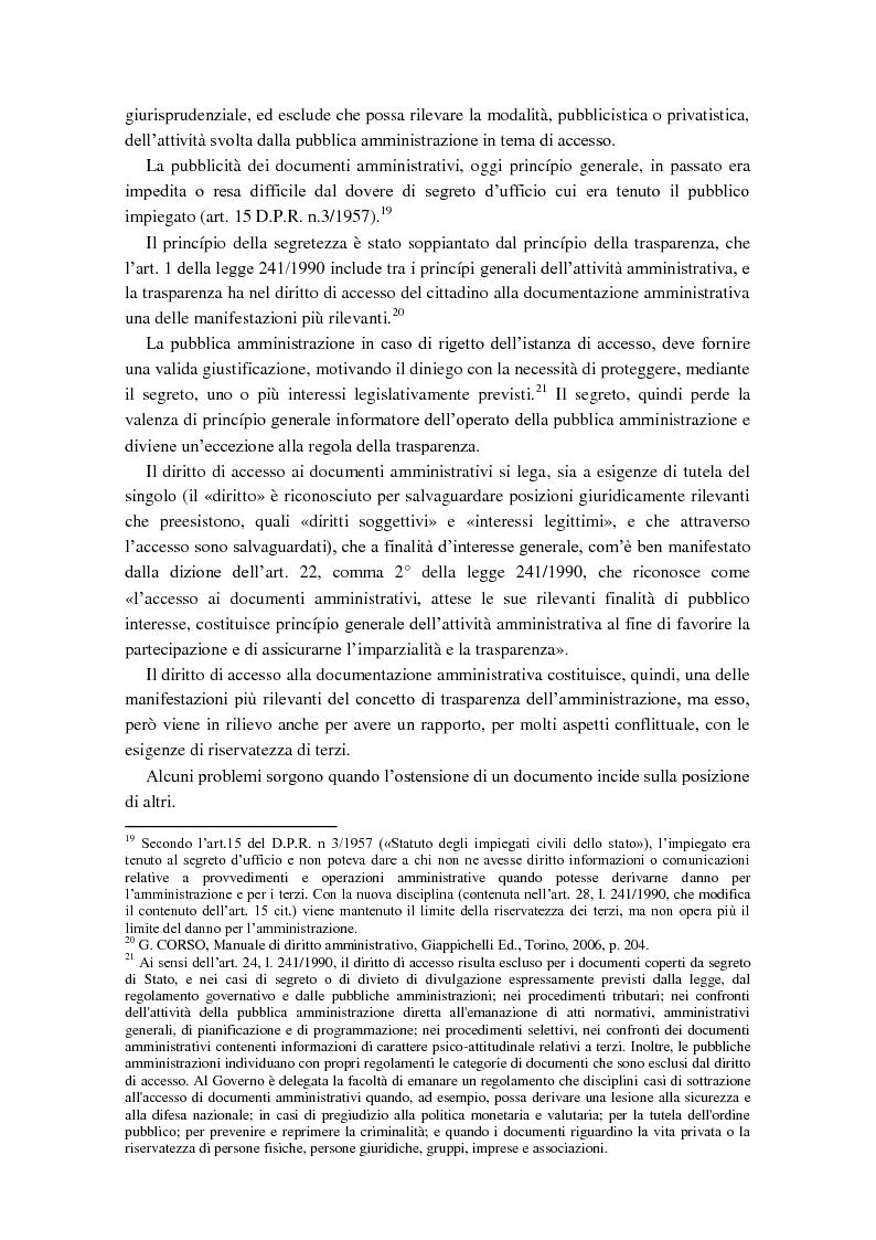 Anteprima della tesi: Diritto di accesso e diritto alla riservatezza, Pagina 6