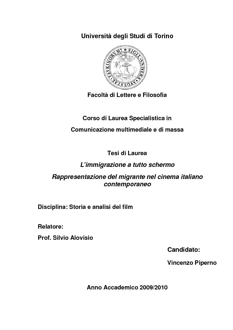 Anteprima della tesi: L'immigrazione a tutto schermo. Rappresentazione del migrante nel cinema italiano contemporaneo, Pagina 1