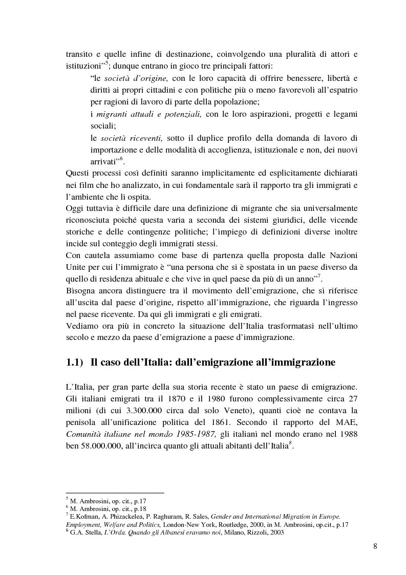 Anteprima della tesi: L'immigrazione a tutto schermo. Rappresentazione del migrante nel cinema italiano contemporaneo, Pagina 4