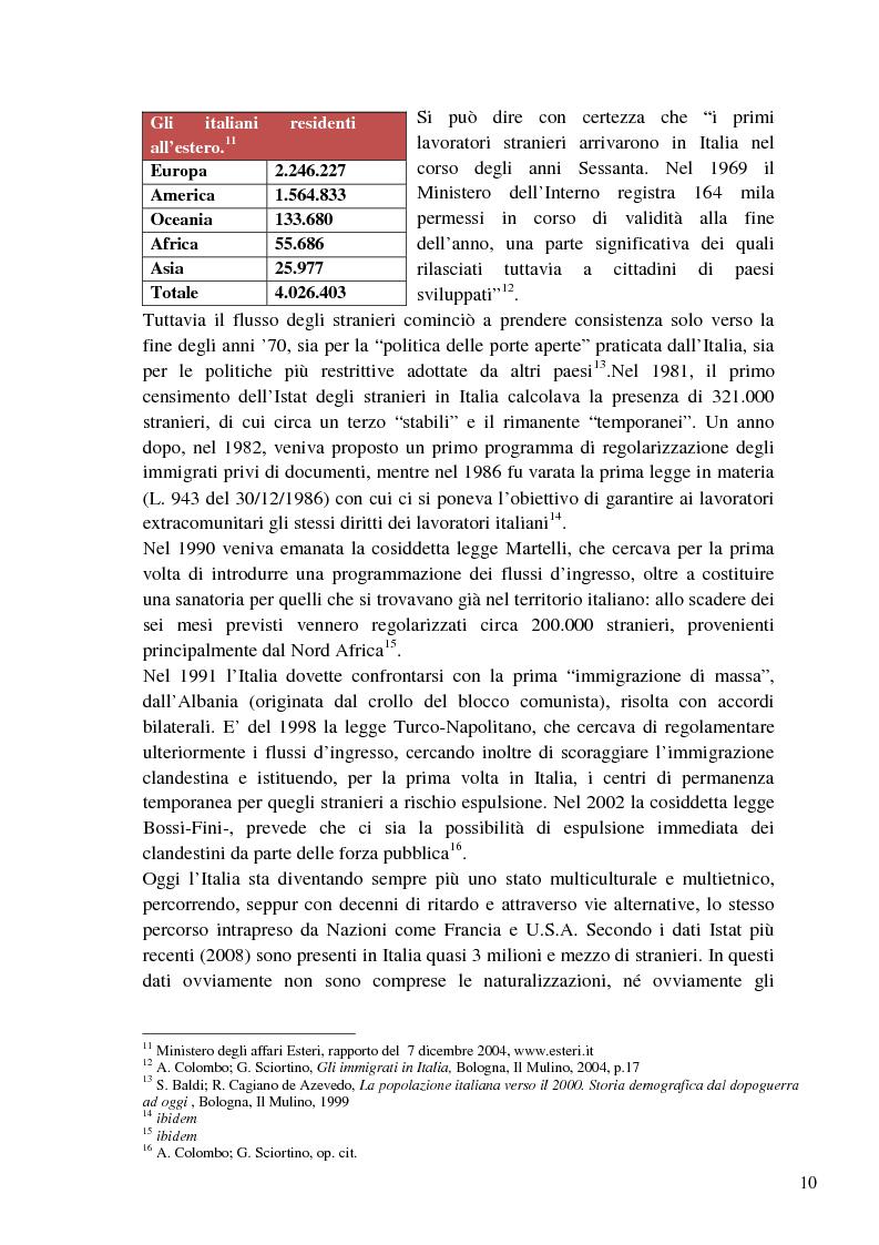 Anteprima della tesi: L'immigrazione a tutto schermo. Rappresentazione del migrante nel cinema italiano contemporaneo, Pagina 6