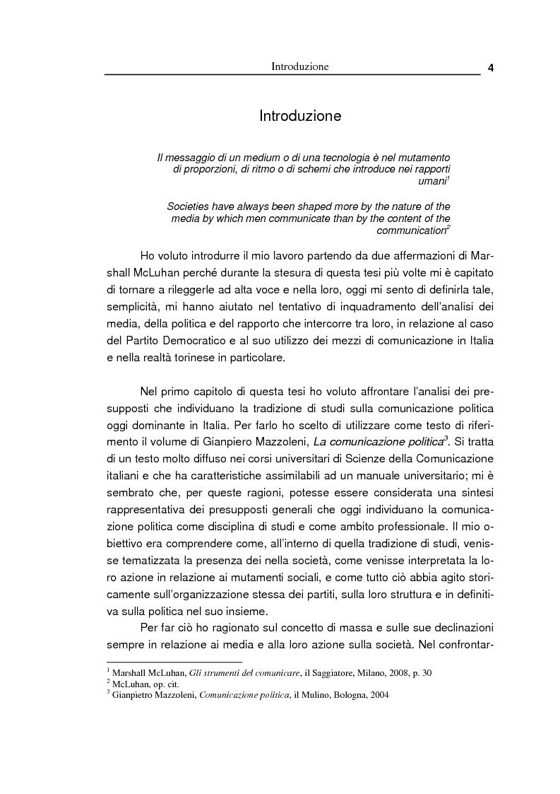 Anteprima della tesi: Oltre la massa? Il Pd tra vecchi e nuovi media. Analisi del caso torinese, Pagina 2