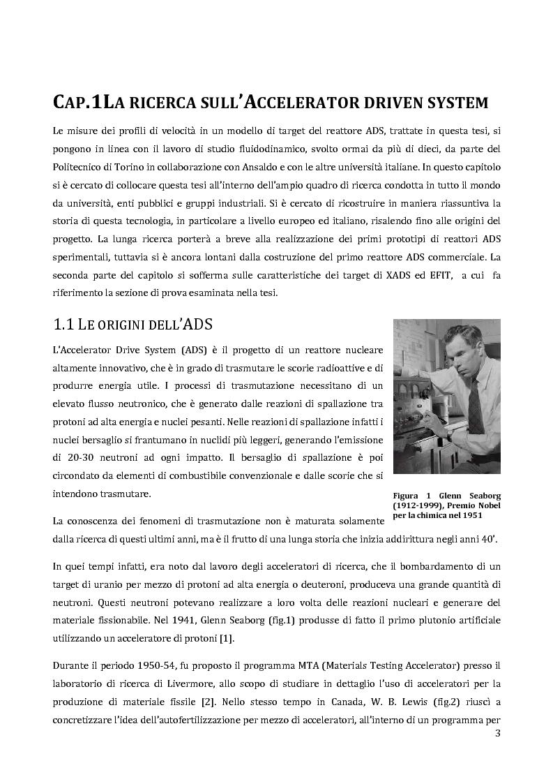 Anteprima della tesi: Velocimetria con gli ultrasuoni pulsati in un modello di target del reattore ADS, Pagina 2