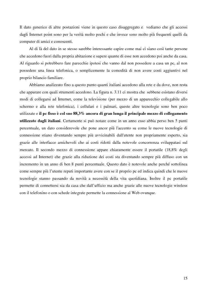 Estratto dalla tesi: Internet e gli italiani: il rapporto con la rete di cittadini e imprese