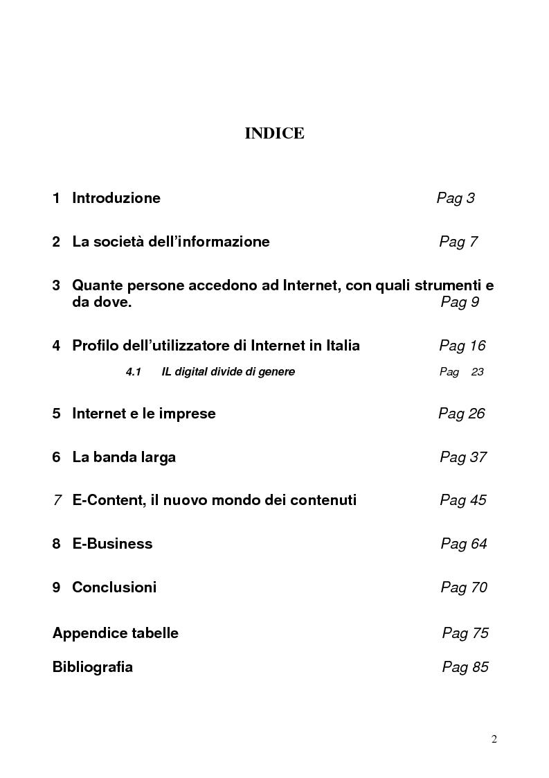 Indice della tesi: Internet e gli italiani: il rapporto con la rete di cittadini e imprese, Pagina 1