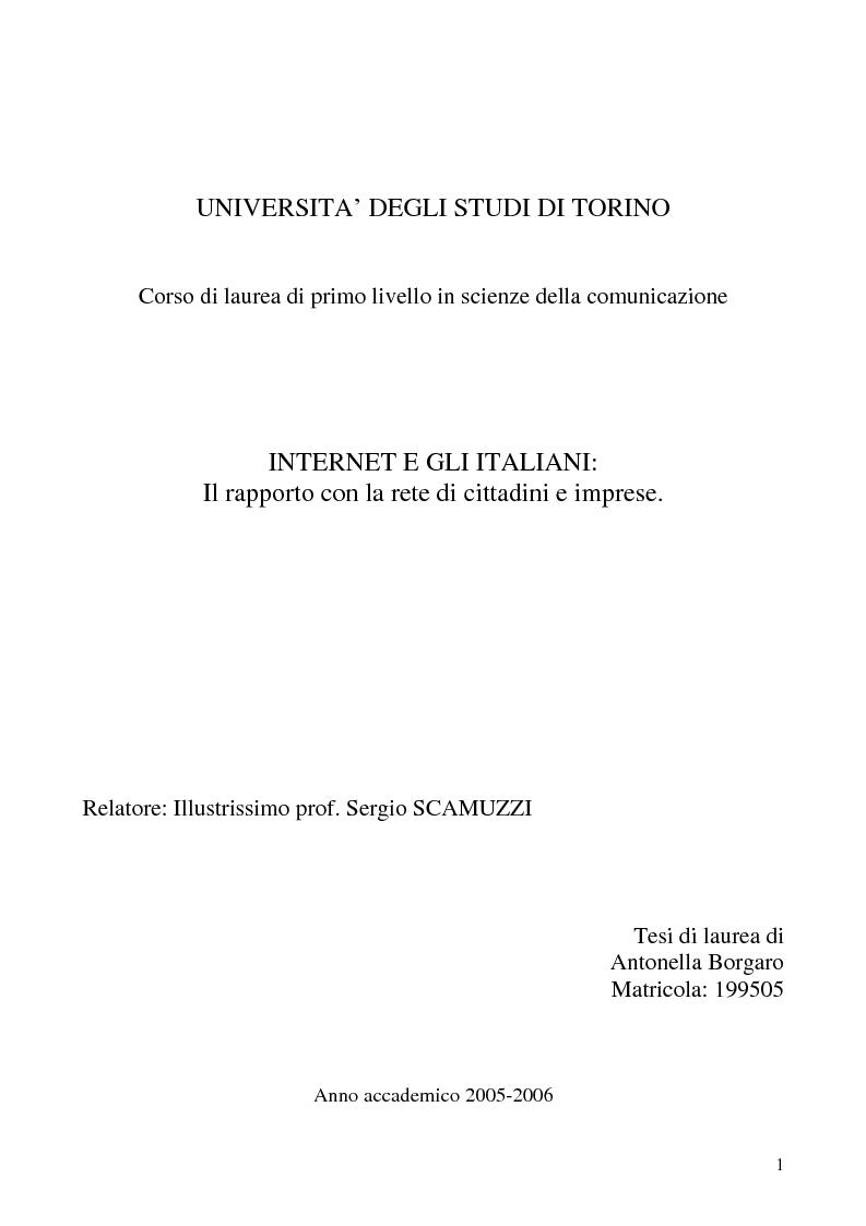 Anteprima della tesi: Internet e gli italiani: il rapporto con la rete di cittadini e imprese, Pagina 1