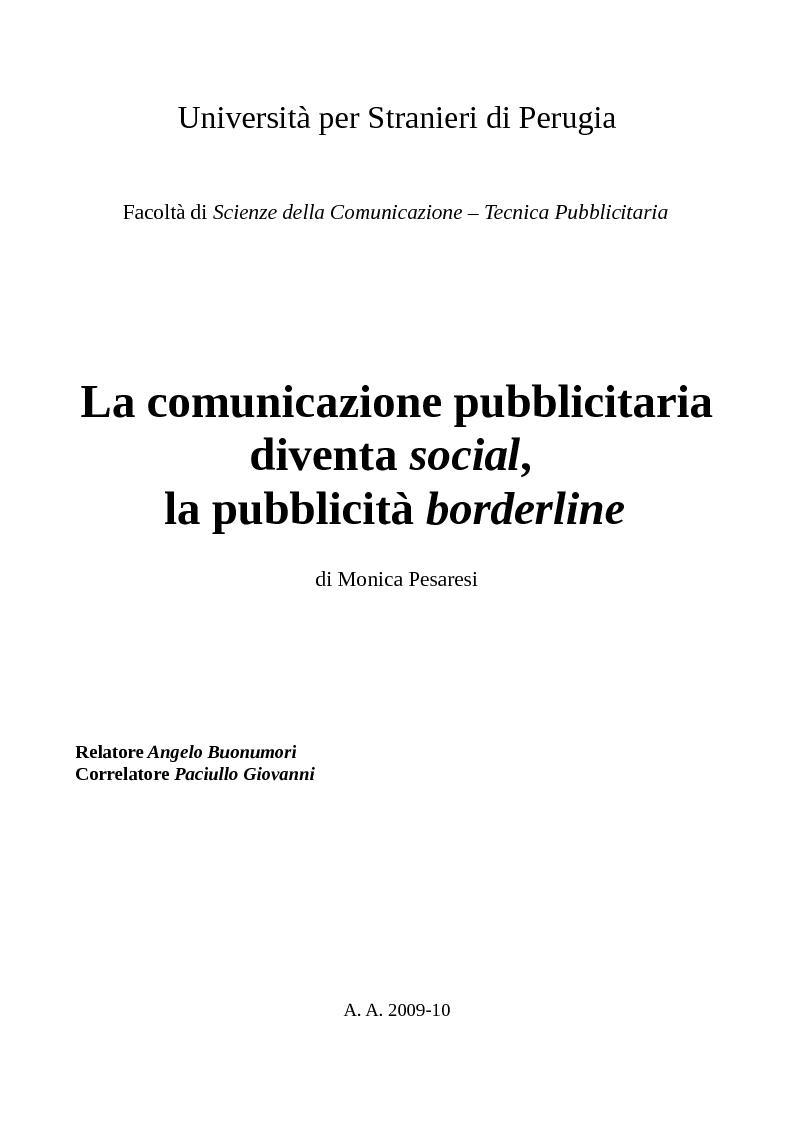 Anteprima della tesi: La comunicazione pubblicitaria diventa social, la pubblicità borderline. , Pagina 1
