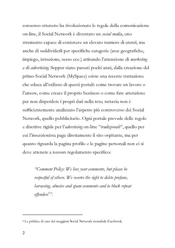 Anteprima della tesi: La comunicazione pubblicitaria diventa social, la pubblicità borderline. , Pagina 3