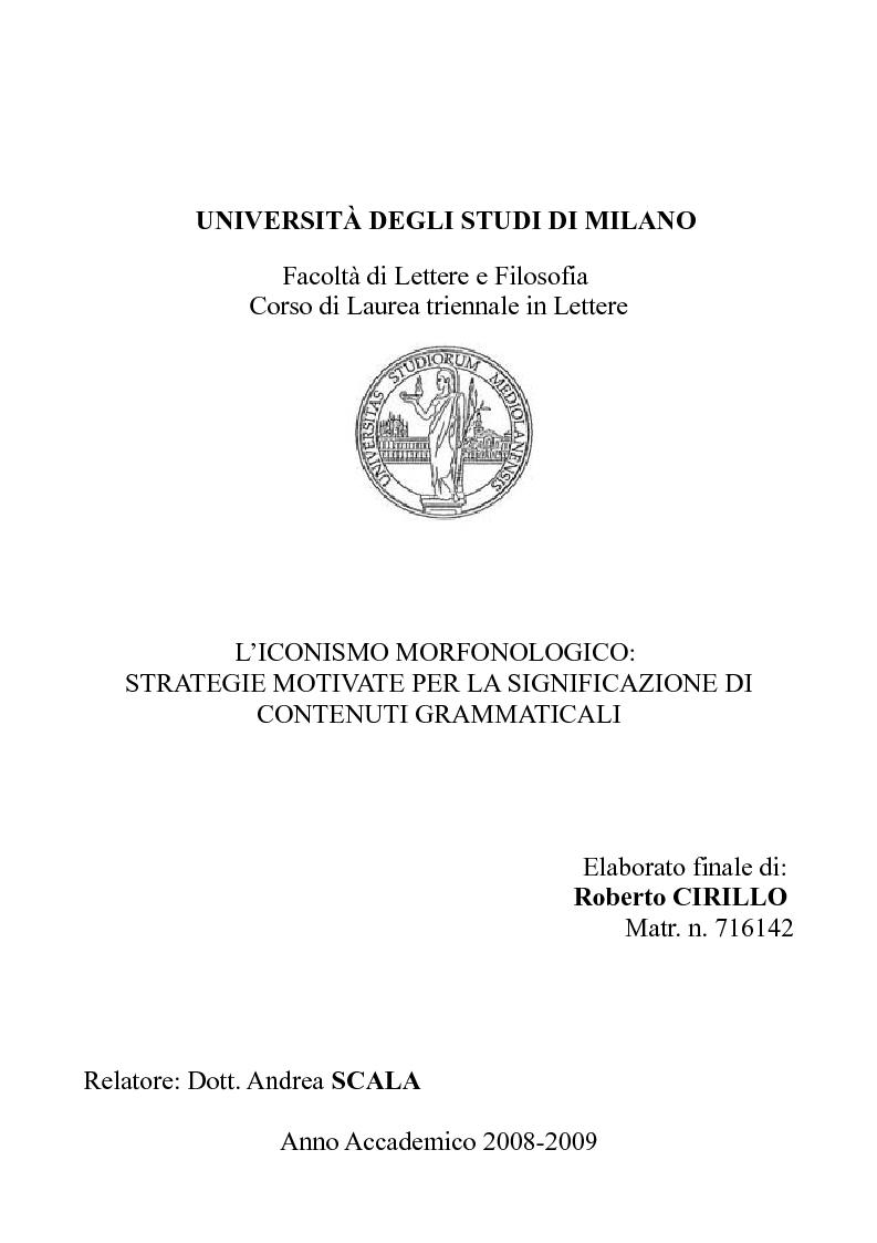 Anteprima della tesi: L'iconismo morfonologico: strategie motivate per la significazione di contenuti grammaticali, Pagina 1