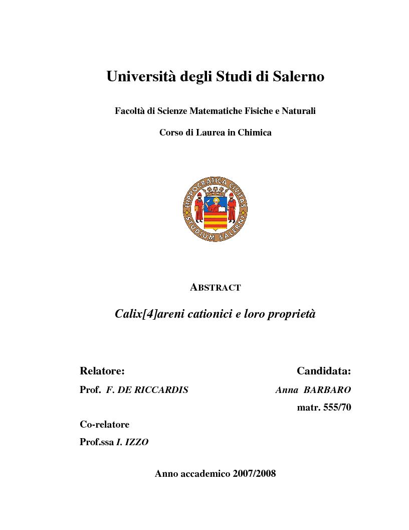 Anteprima della tesi: Calix[4]areni cationici e loro proprietà, Pagina 1