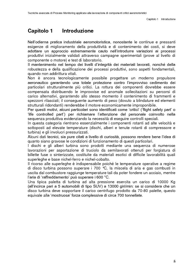 Anteprima della tesi: Tecniche avanzate di process monitoring applicate alla lavorazione di componenti critici aeromotoristici, Pagina 2