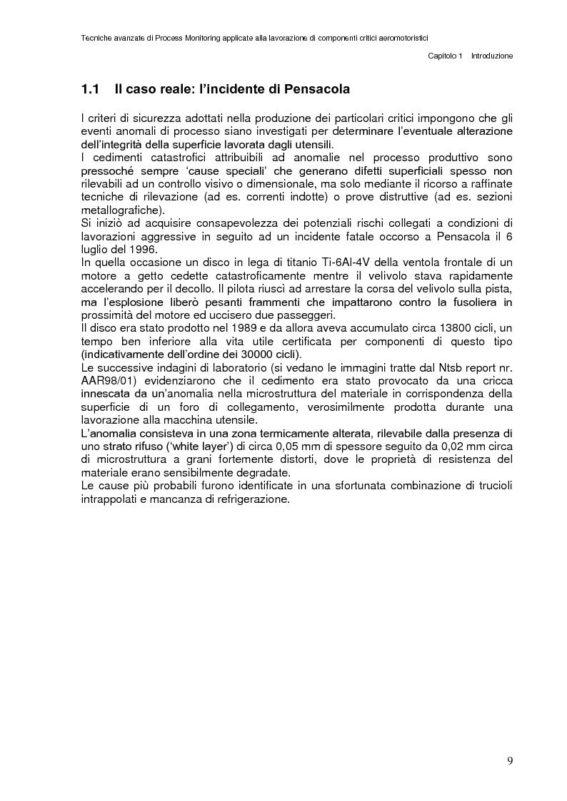 Anteprima della tesi: Tecniche avanzate di process monitoring applicate alla lavorazione di componenti critici aeromotoristici, Pagina 3