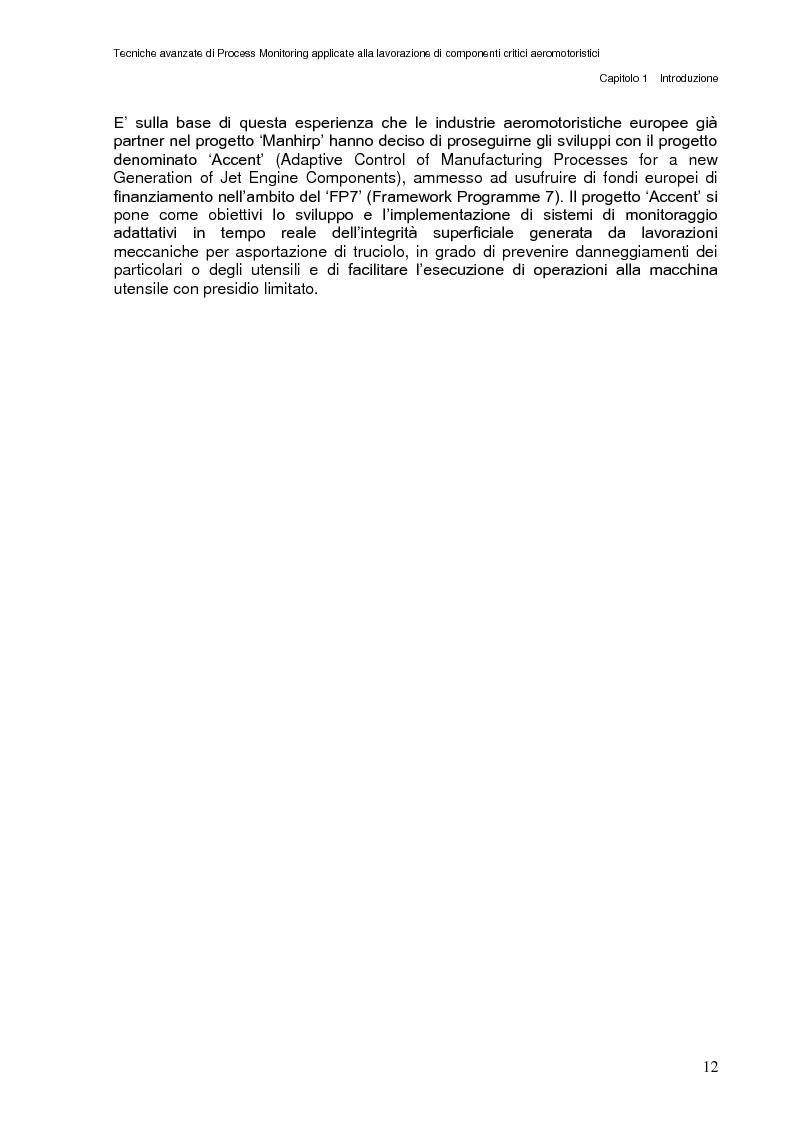 Anteprima della tesi: Tecniche avanzate di process monitoring applicate alla lavorazione di componenti critici aeromotoristici, Pagina 6