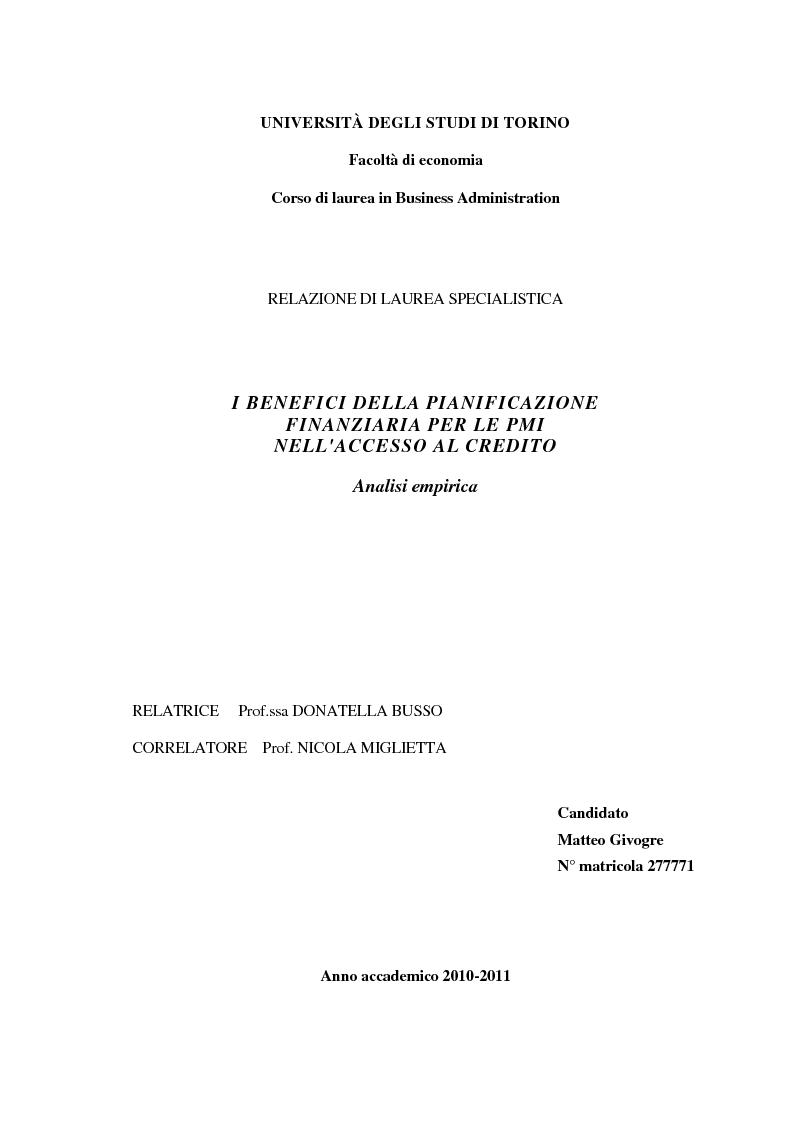 Anteprima della tesi: I benefici della pianificazione finanziaria per le PMI nell' accesso al credito bancario: analisi empirica, Pagina 1