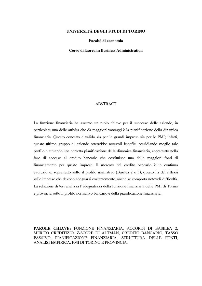 Anteprima della tesi: I benefici della pianificazione finanziaria per le PMI nell' accesso al credito bancario: analisi empirica, Pagina 2