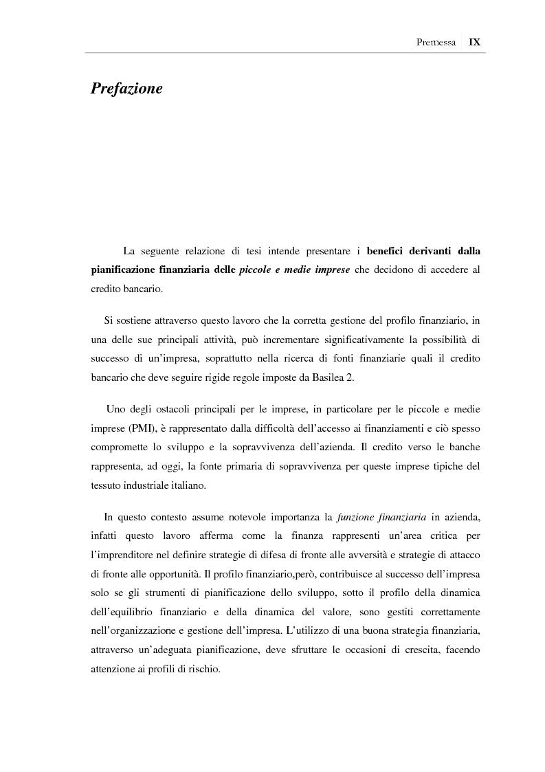 Anteprima della tesi: I benefici della pianificazione finanziaria per le PMI nell' accesso al credito bancario: analisi empirica, Pagina 3