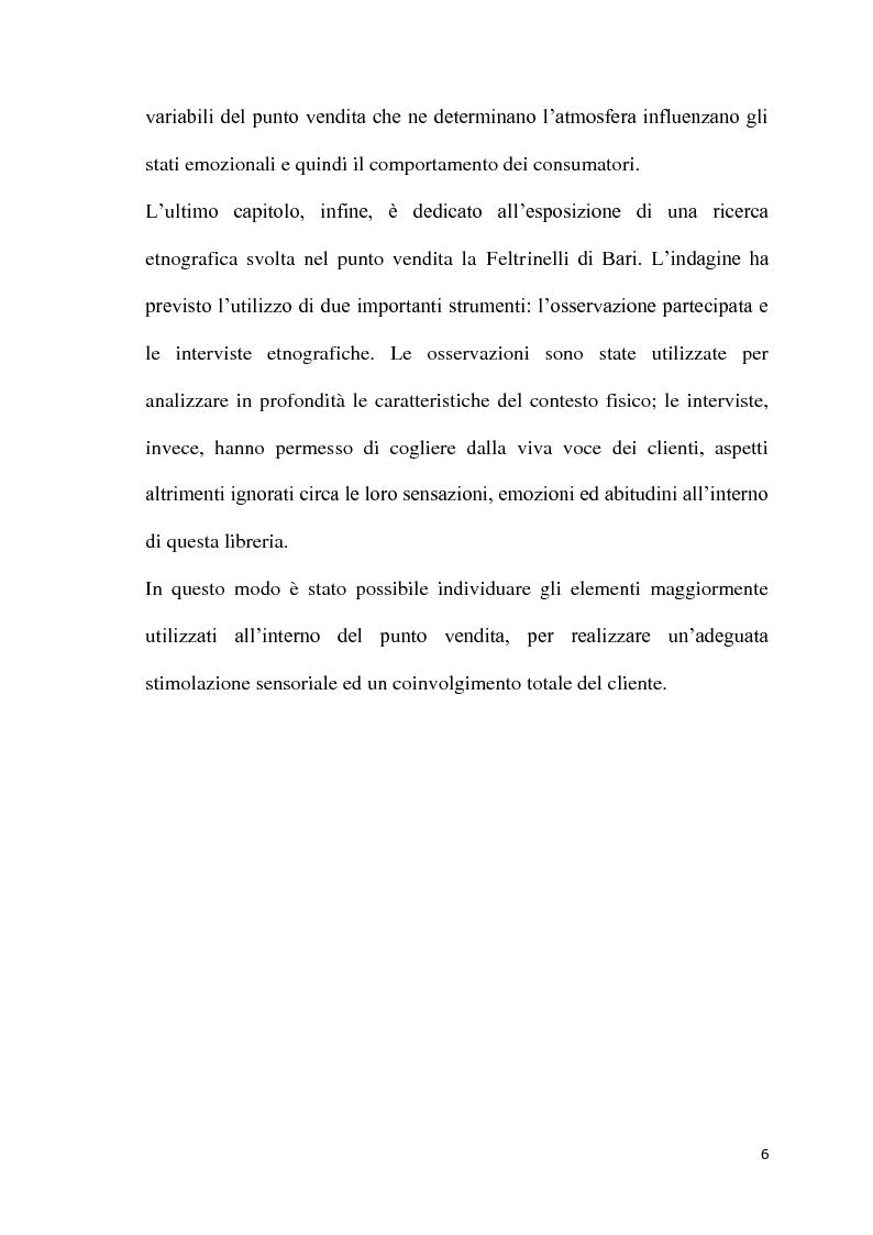 Anteprima della tesi: L'atmosfera del punto vendita. Luci, suoni, odori e sapori per riscoprire i sensi. Il caso Feltrinelli, Pagina 5