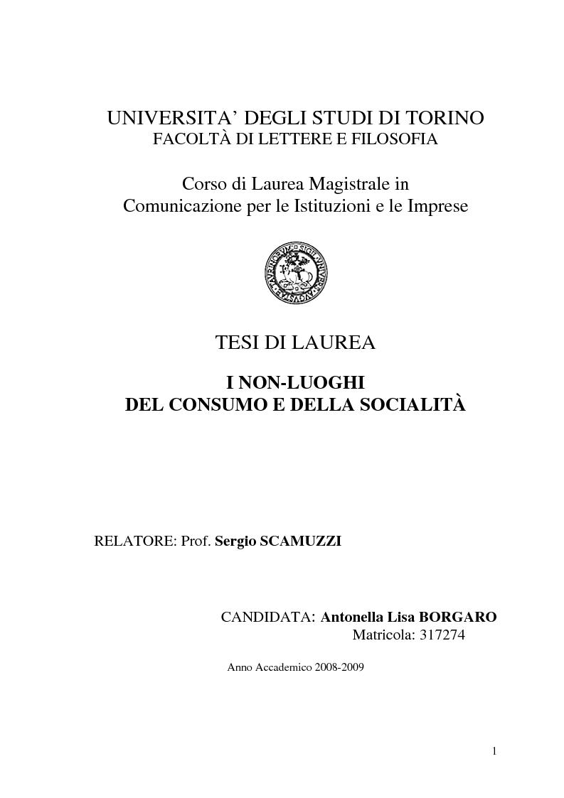 Anteprima della tesi: I non-luoghi del consumo e della socialità, Pagina 1
