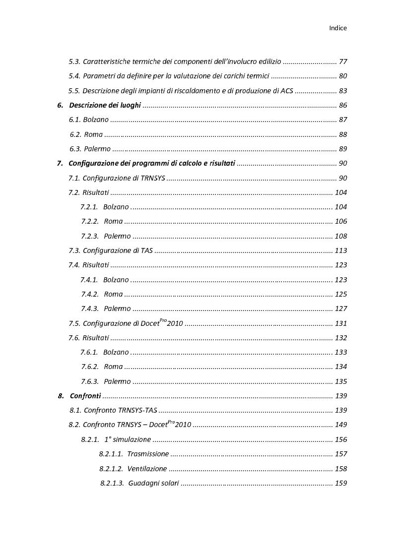 Indice della tesi: Analisi energetica di una struttura attraverso il confronto di tre programmi di calcolo: TRNSYS, TAS, DOCET, Pagina 2