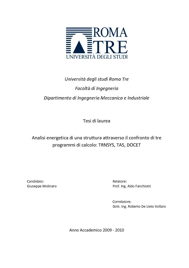 Anteprima della tesi: Analisi energetica di una struttura attraverso il confronto di tre programmi di calcolo: TRNSYS, TAS, DOCET, Pagina 1