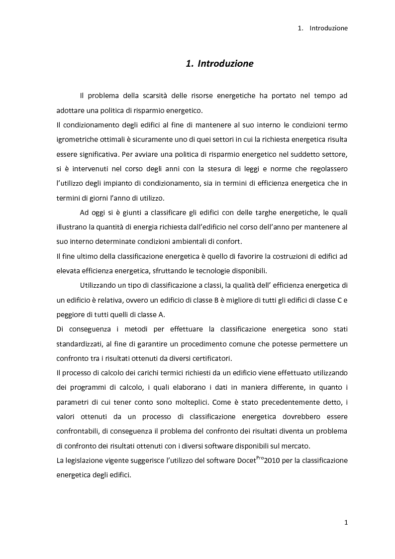 Anteprima della tesi: Analisi energetica di una struttura attraverso il confronto di tre programmi di calcolo: TRNSYS, TAS, DOCET, Pagina 2